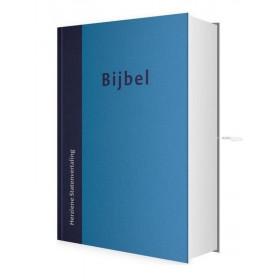 Nederlandse Bijbel in de Herziene Statenvertaling (HSV). Uitgevoerd met harde kaft en blauw design.