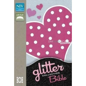Engelse Bijbel in de New International Version (NIV) - GLITTER FLEXICOVER PINK HEART BIBLE - Medium formaat met flexibele kaft