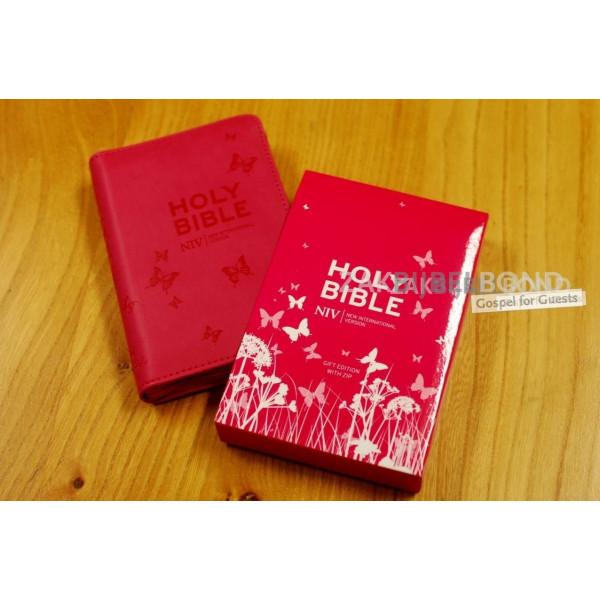 Engelse Bijbel in de New International Version (NIV) - TINY PINK SOFT-TONE BIBLE - Klein met imitatieleer, rits en zilversnede